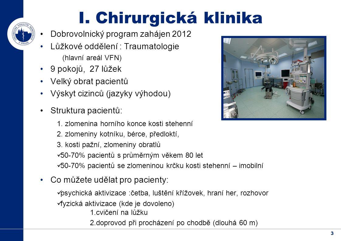 3 Dobrovolnický program zahájen 2012 Lůžkové oddělení : Traumatologie (hlavní areál VFN) 9 pokojů, 27 lůžek Velký obrat pacientů Výskyt cizinců (jazyky výhodou) Struktura pacientů: 1.
