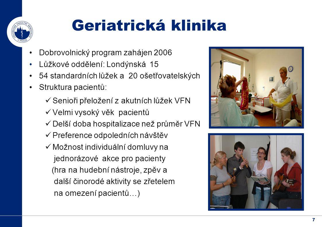 7 Dobrovolnický program zahájen 2006 Lůžkové oddělení: Londýnská 15 54 standardních lůžek a 20 ošetřovatelských Struktura pacientů: Senioři přeložení