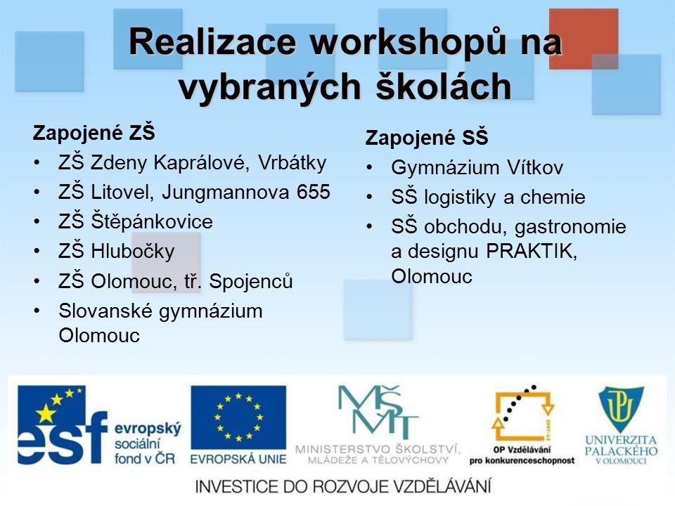 Realizace workshopů na vybraných školách Zapojené ZŠ ZŠ Zdeny Kaprálové, Vrbátky ZŠ Litovel, Jungmannova 655 ZŠ Štěpánkovice ZŠ Hlubočky ZŠ Olomouc, tř.