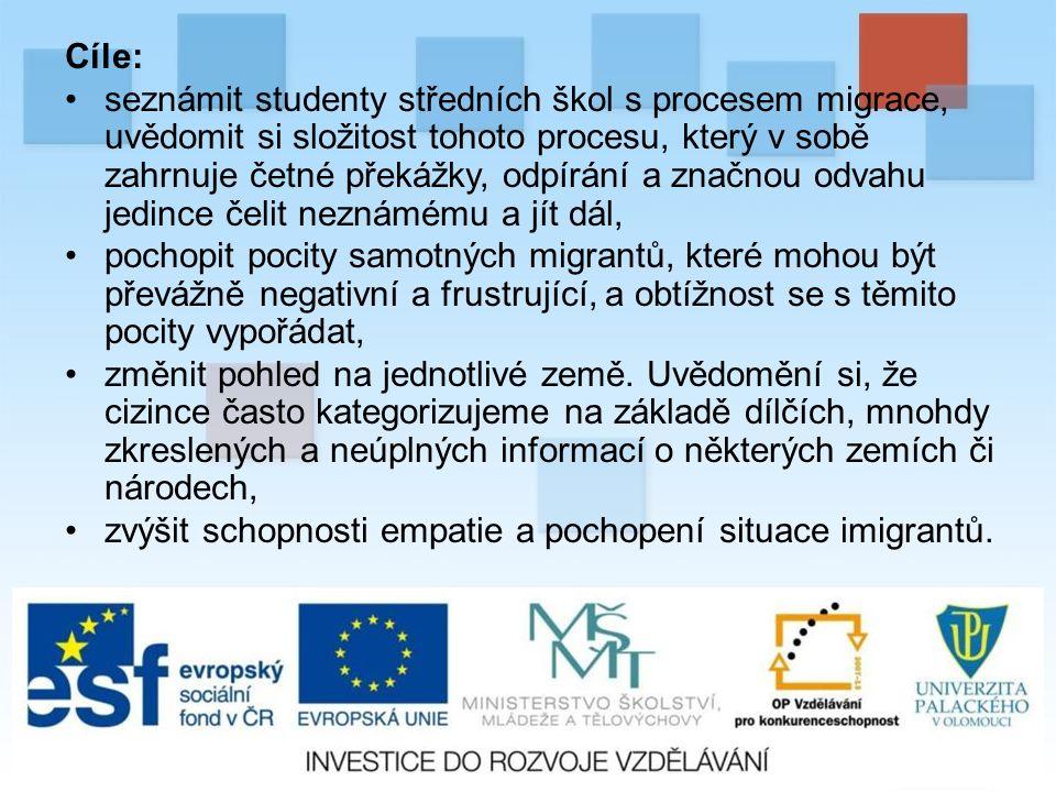 Cíle: seznámit studenty středních škol s procesem migrace, uvědomit si složitost tohoto procesu, který v sobě zahrnuje četné překážky, odpírání a značnou odvahu jedince čelit neznámému a jít dál, pochopit pocity samotných migrantů, které mohou být převážně negativní a frustrující, a obtížnost se s těmito pocity vypořádat, změnit pohled na jednotlivé země.