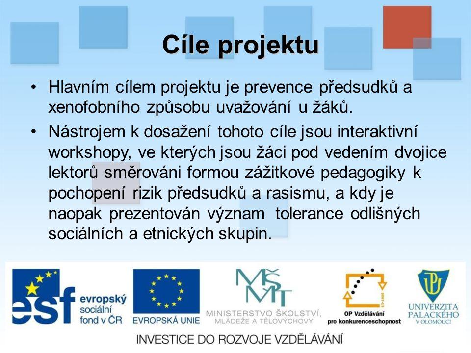 Cíle projektu Hlavním cílem projektu je prevence předsudků a xenofobního způsobu uvažování u žáků.