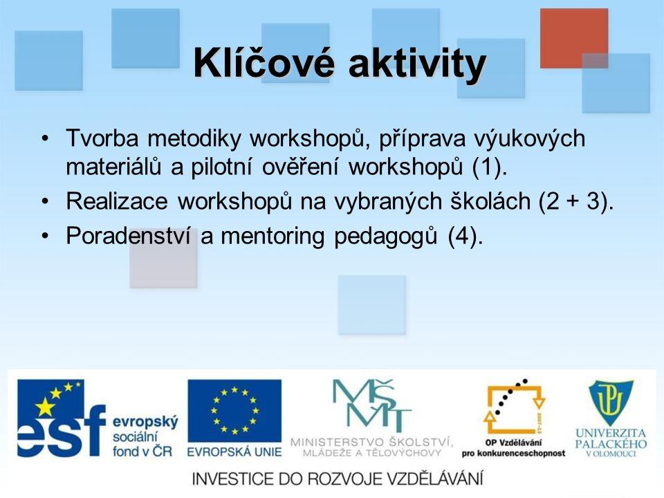 Klíčové aktivity Tvorba metodiky workshopů, příprava výukových materiálů a pilotní ověření workshopů (1).