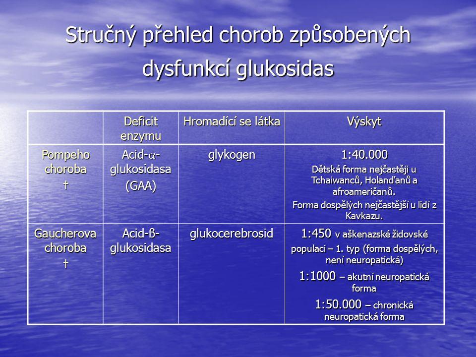 Stručný přehled chorob způsobených dysfunkcí glukosidas Deficit enzymu Hromadící se látka Výskyt Pompeho choroba † Acid-  - glukosidasa (GAA)glykogen1:40.000 Dětská forma nejčastěji u Tchaiwanců, Holanďanů a afroameričanů.