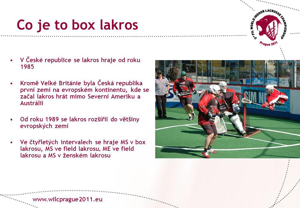 www.lacrosse.cz Co je to box lakros V České republice se lakros hraje od roku 1985 Kromě Velké Británie byla Česká republika první zemí na evropském kontinentu, kde se začal lakros hrát mimo Severní Ameriku a Austrálii Od roku 1989 se lakros rozšířil do většiny evropských zemí Ve čtyřletých intervale c h se hraje MS v box lakrosu, MS ve field lakrosu, ME ve field lakrosu a MS v ženském lakrosu www.wilcprague2011.eu