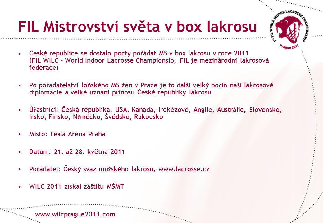 www.lacrosse.cz FIL Mistrovství světa v box lakrosu České republice se dostalo pocty pořádat MS v box lakrosu v roce 2011 (FIL WILC – World Indoor Lac