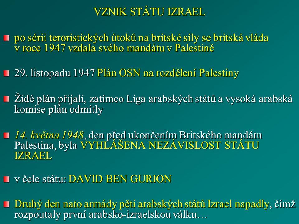 VZNIK STÁTU IZRAEL po sérii teroristických útoků na britské síly se britská vláda v roce 1947 vzdala svého mandátu v Palestině 29.
