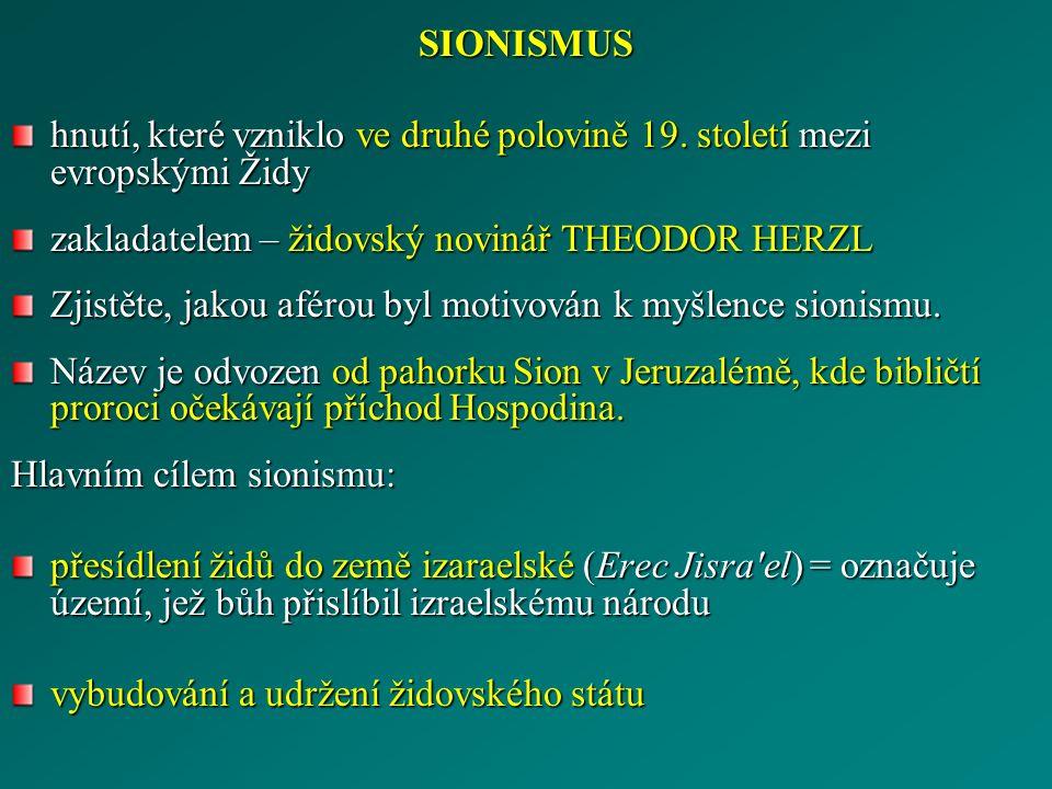 SIONISMUS hnutí, které vzniklo ve druhé polovině 19.