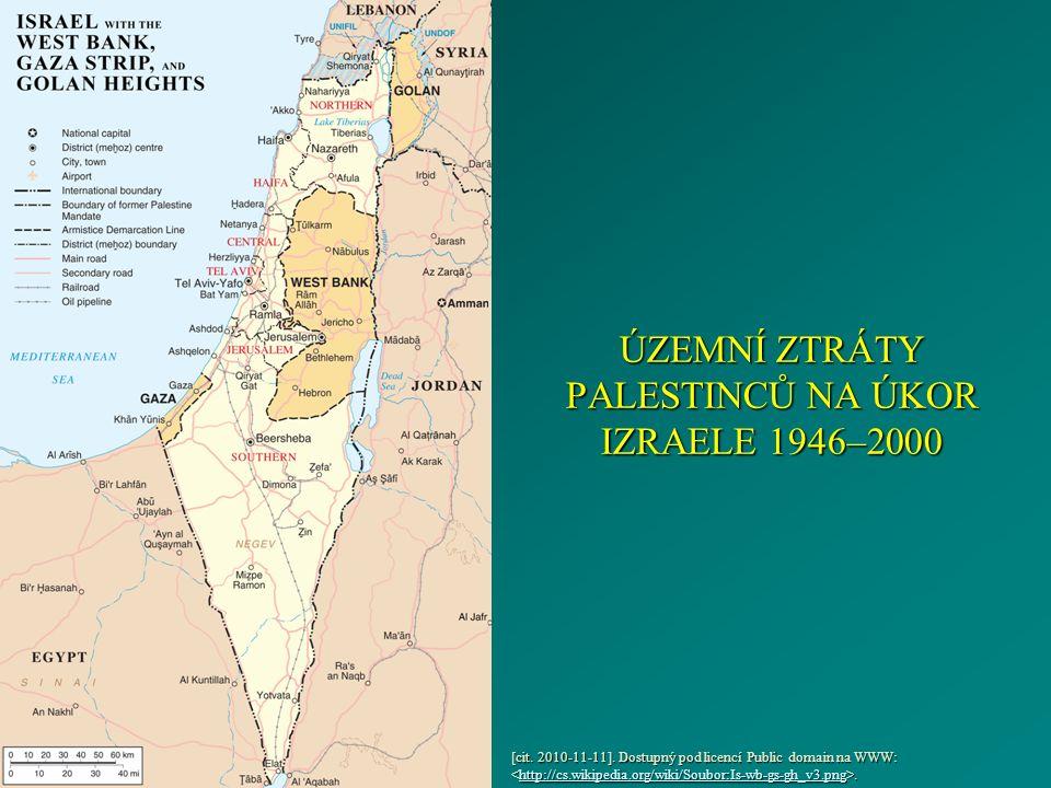 ÚZEMNÍ ZTRÁTY PALESTINCŮ NA ÚKOR IZRAELE 1946–2000 [cit.