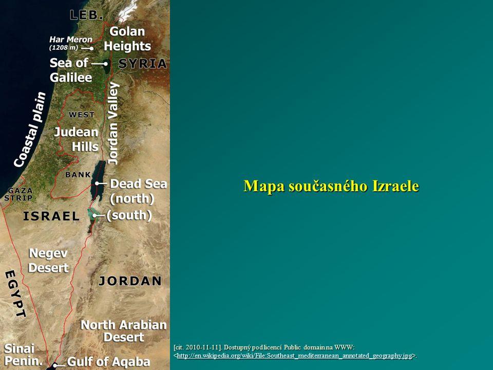 Mapa současného Izraele [cit. 2010-11-11].