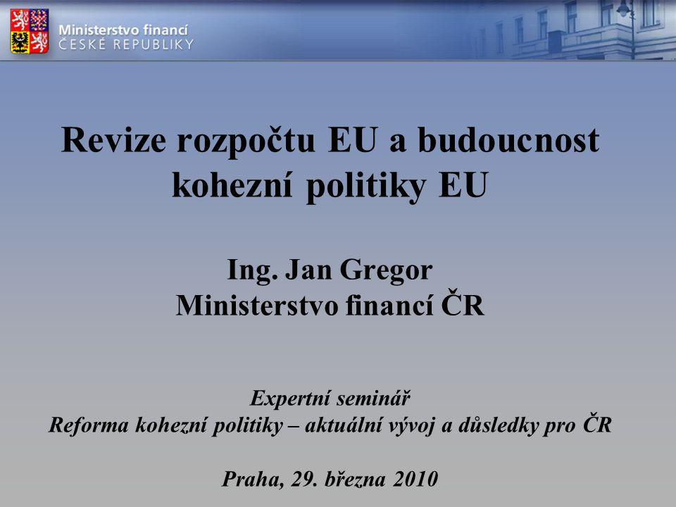 """Revize rozpočtu EU závěry Evropské rady z prosince 2005  rozhodnutí o provedení """"úplné a rozsáhlé revize rozpočtu EU ;  Komise má zhodnotit """"všechny aspekty výdajů, včetně Společné zemědělské politiky, a příjmů, včetně korekce Velké Británie a …  …v letech 2008/2009 o tom předložit zprávu Cíl –posouzení dlouhodobých priorit EU včetně nových výzev –vyhodnocení financování těchto priorit z rozpočtu EU (bez konkrétního finančního vyjádření)"""