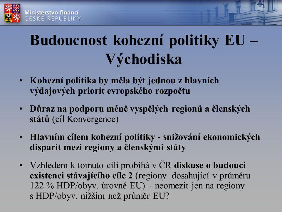 Budoucnost kohezní politiky EU – Východiska Kohezní politika by měla být jednou z hlavních výdajových priorit evropského rozpočtu Důraz na podporu méně vyspělých regionů a členských států (cíl Konvergence) Hlavním cílem kohezní politiky - snižování ekonomických disparit mezi regiony a členskými státy Vzhledem k tomuto cíli probíhá v ČR diskuse o budoucí existenci stávajícího cíle 2 (regiony dosahující v průměru 122 % HDP/obyv.