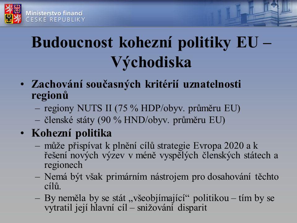 Budoucnost kohezní politiky EU – Východiska Zachování současných kritérií uznatelnosti regionů –regiony NUTS II (75 % HDP/obyv.