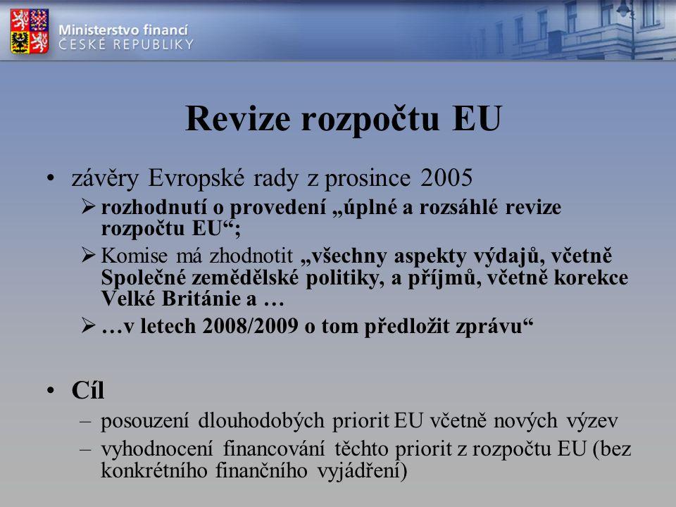 """Veřejná konzultace V září 2007 představila Komise sdělení """"Reformovat rozpočet, změnit Evropu – zahájena veřejnou diskusi k revizi Výstupy z veřejné konzultace by se měly promítnout do návrhu Komise k revizi rozpočtu Příspěvek ČR do debaty o revizi rozpočtu EU –Schválen vládním V-EU na začátku června 2008 –Pozice ČR by se tohoto základního vymezení měla držet"""