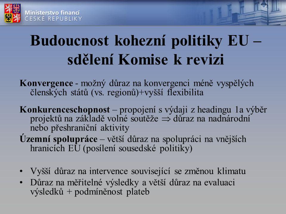 Budoucnost kohezní politiky EU – sdělení Komise k revizi Konvergence - možný důraz na konvergenci méně vyspělých členských států (vs.