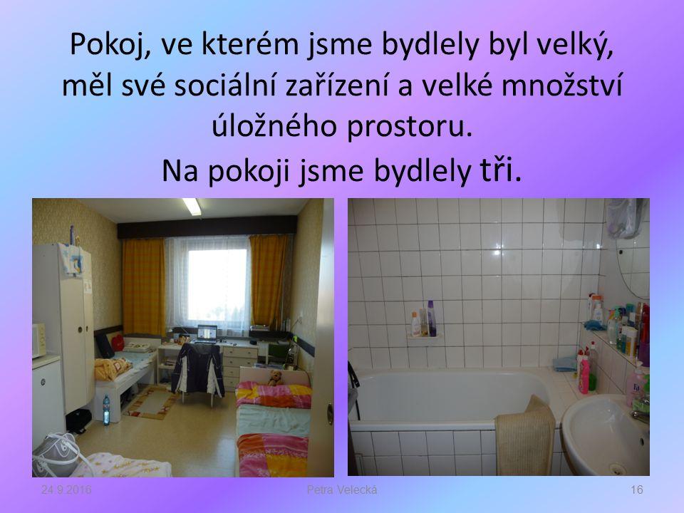 Pokoj, ve kterém jsme bydlely byl velký, měl své sociální zařízení a velké množství úložného prostoru.