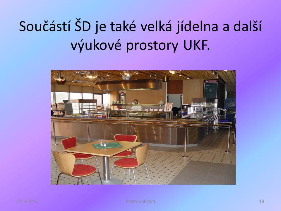 Součástí ŠD je také velká jídelna a další výukové prostory UKF. 24.9.201618Petra Velecká