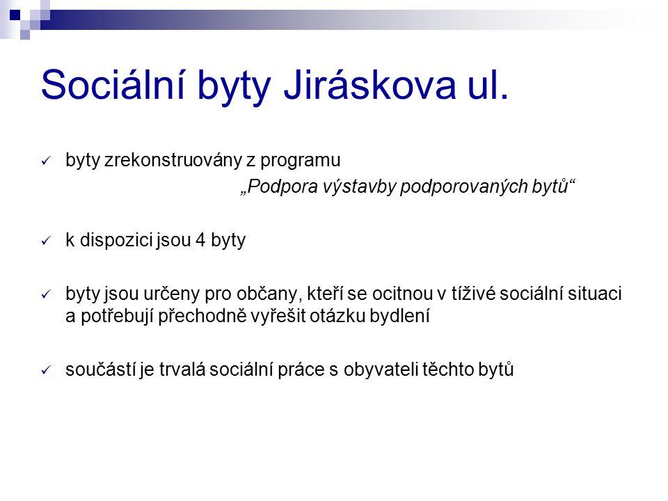 """Sociální byty Jiráskova ul. byty zrekonstruovány z programu """"Podpora výstavby podporovaných bytů"""" k dispozici jsou 4 byty byty jsou určeny pro občany,"""