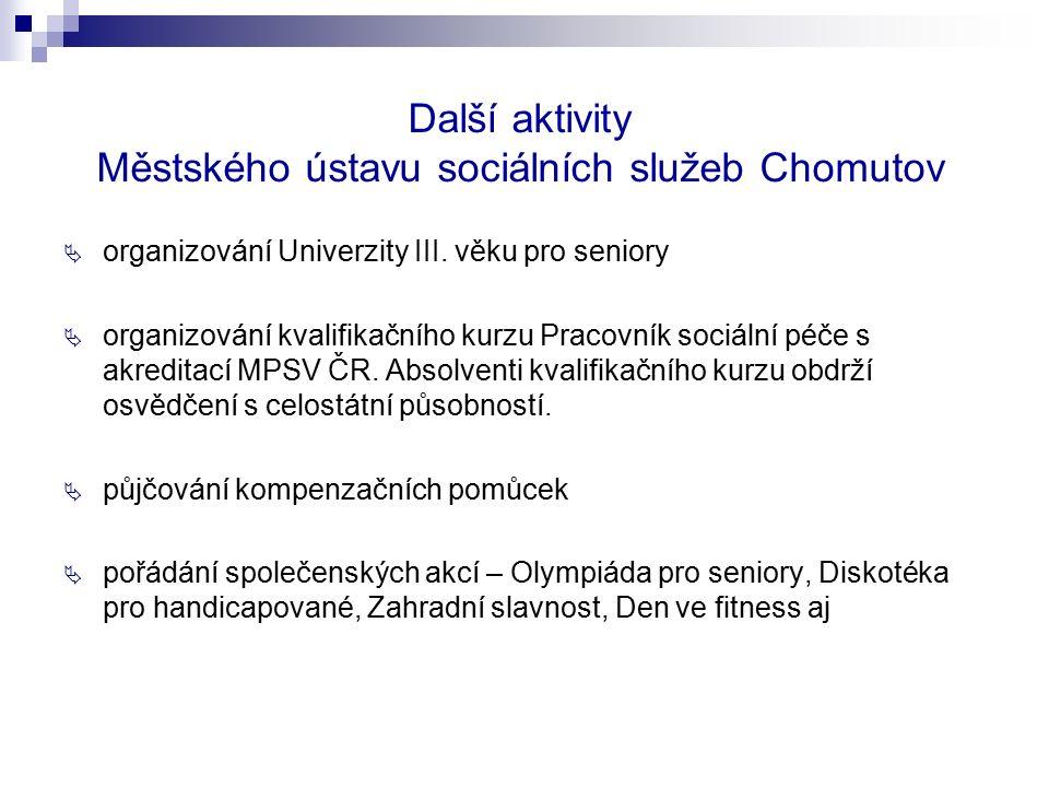 Další aktivity Městského ústavu sociálních služeb Chomutov  organizování Univerzity III. věku pro seniory  organizování kvalifikačního kurzu Pracovn