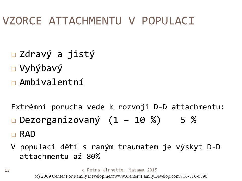 13 VZORCE ATTACHMENTU V POPULACI  Zdravý a jistý  Vyhýbavý  Ambivalentní Extrémní porucha vede k rozvoji D-D attachmentu:  Dezorganizovaný(1 – 10