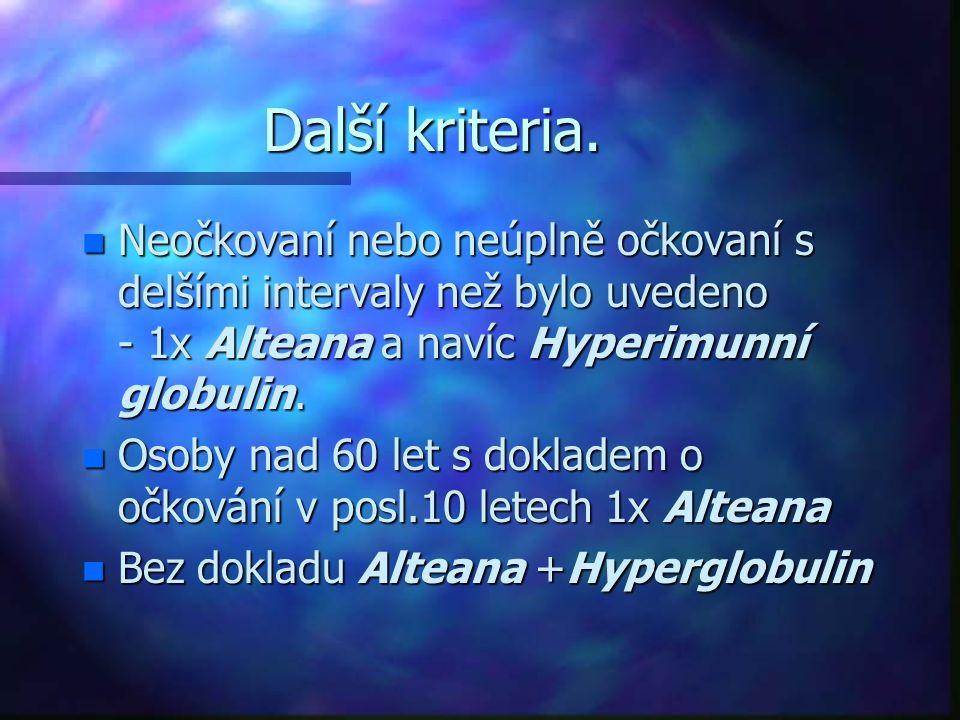 Další kriteria. n Neočkovaní nebo neúplně očkovaní s delšími intervaly než bylo uvedeno - 1x Alteana a navíc Hyperimunní globulin. n Osoby nad 60 let