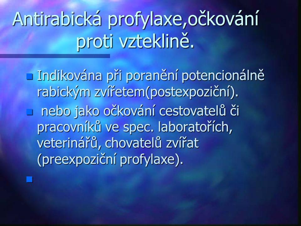 Antirabická profylaxe,očkování proti vzteklině. n Indikována při poranění potencionálně rabickým zvířetem(postexpoziční). n nebo jako očkování cestova