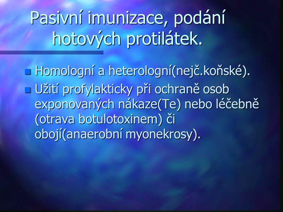 Pasivní imunizace, podání hotových protilátek. n Homologní a heterologní(nejč.koňské). n Užití profylakticky při ochraně osob exponovaných nákaze(Te)