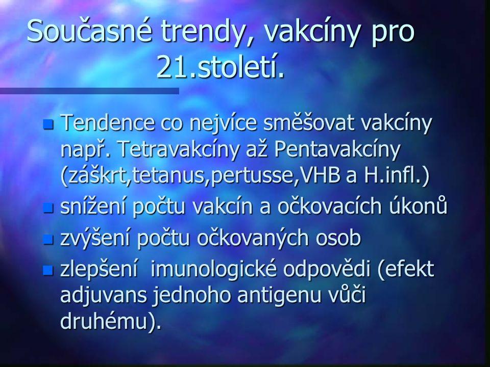 Současné trendy, vakcíny pro 21.století. n Tendence co nejvíce směšovat vakcíny např. Tetravakcíny až Pentavakcíny (záškrt,tetanus,pertusse,VHB a H.in
