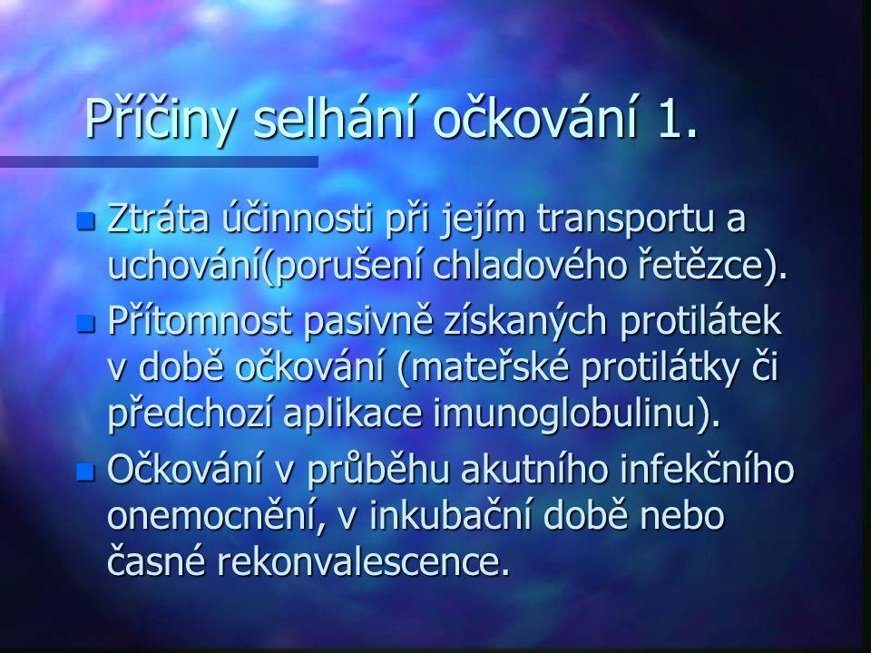 Příčiny selhání očkování 1.
