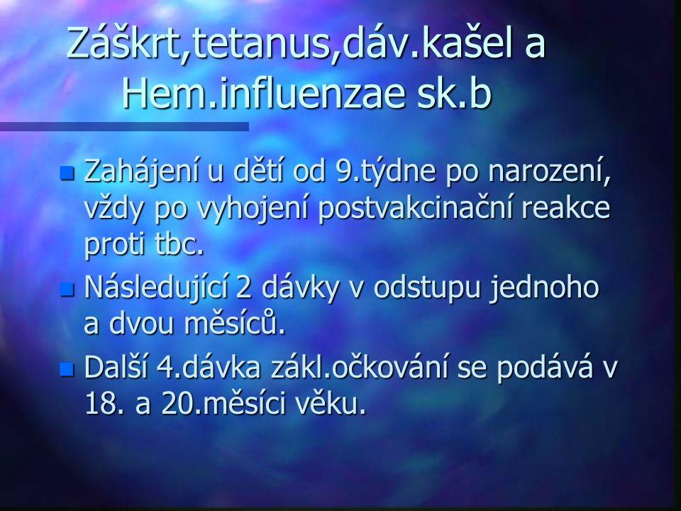 Záškrt,tetanus,dáv.kašel a Hem.influenzae sk.b n Zahájení u dětí od 9.týdne po narození, vždy po vyhojení postvakcinační reakce proti tbc. n Následují