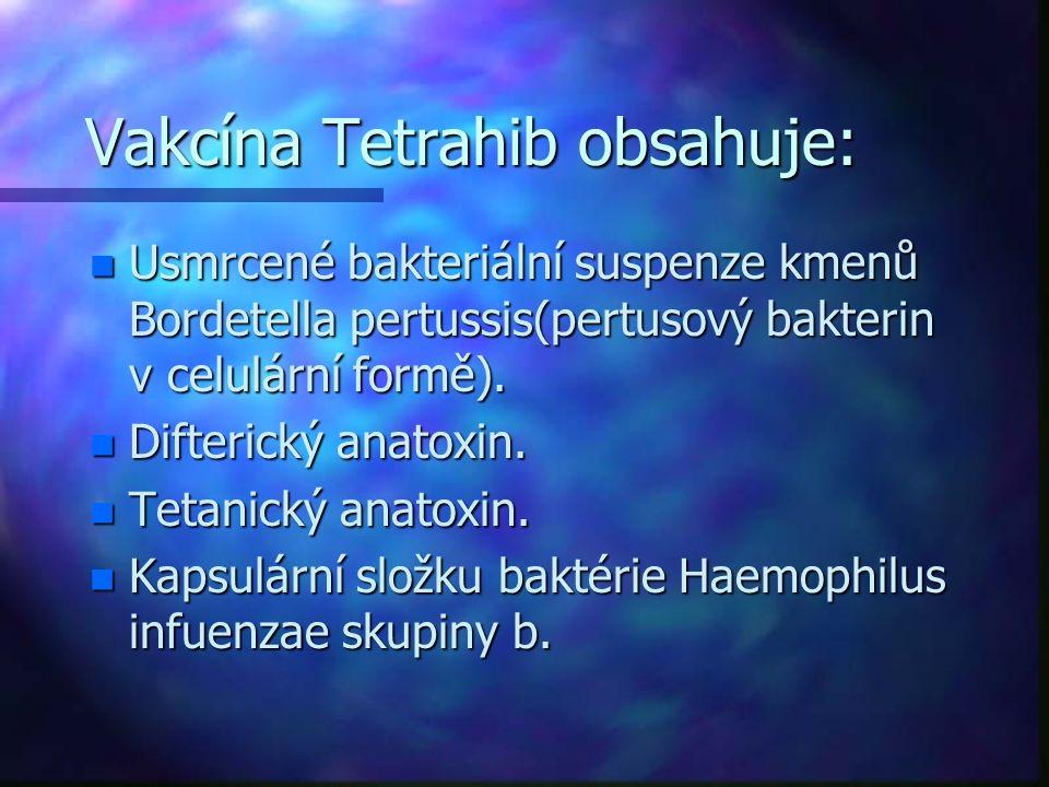 Vakcína Tetrahib obsahuje: n Usmrcené bakteriální suspenze kmenů Bordetella pertussis(pertusový bakterin v celulární formě). n Difterický anatoxin. n