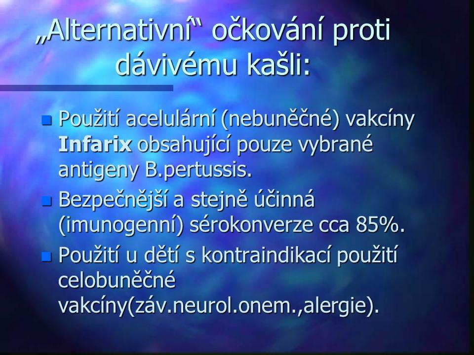 """""""Alternativní"""" očkování proti dávivému kašli: n Použití acelulární (nebuněčné) vakcíny Infarix obsahující pouze vybrané antigeny B.pertussis. n Bezpeč"""