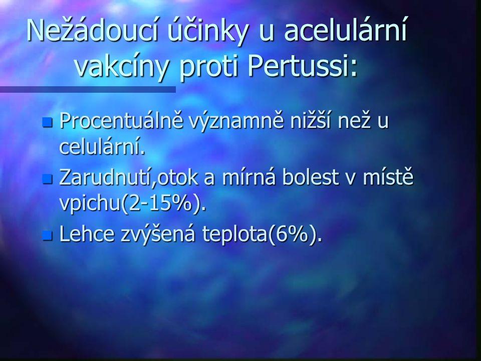 Nežádoucí účinky u acelulární vakcíny proti Pertussi: n Procentuálně významně nižší než u celulární. n Zarudnutí,otok a mírná bolest v místě vpichu(2-
