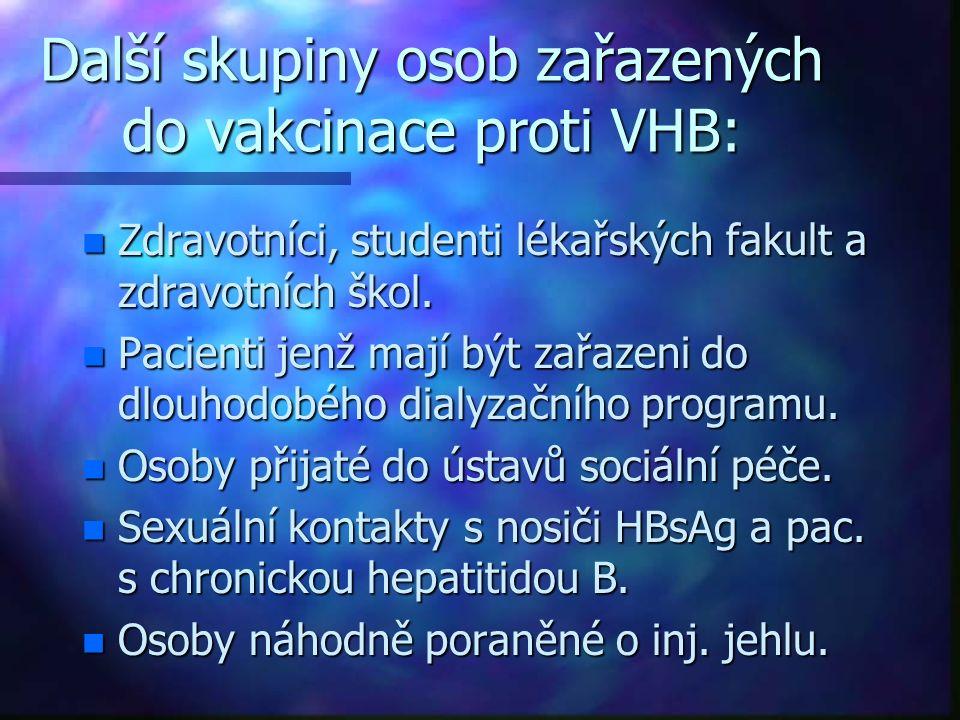 Další skupiny osob zařazených do vakcinace proti VHB: n Zdravotníci, studenti lékařských fakult a zdravotních škol. n Pacienti jenž mají být zařazeni