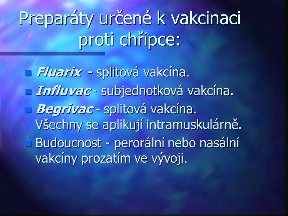Preparáty určené k vakcinaci proti chřipce: n Fluarix - splitová vakcína. n Influvac - subjednotková vakcína. n Begrivac - splitová vakcína. Všechny s