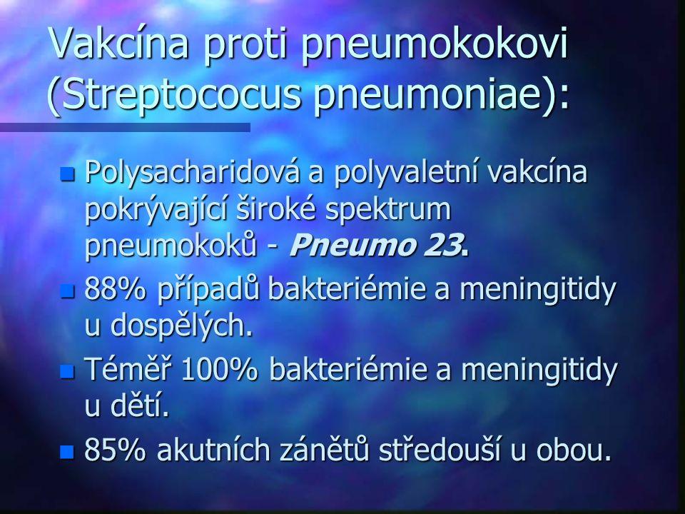 Vakcína proti pneumokokovi (Streptococus pneumoniae): n Polysacharidová a polyvaletní vakcína pokrývající široké spektrum pneumokoků - Pneumo 23.