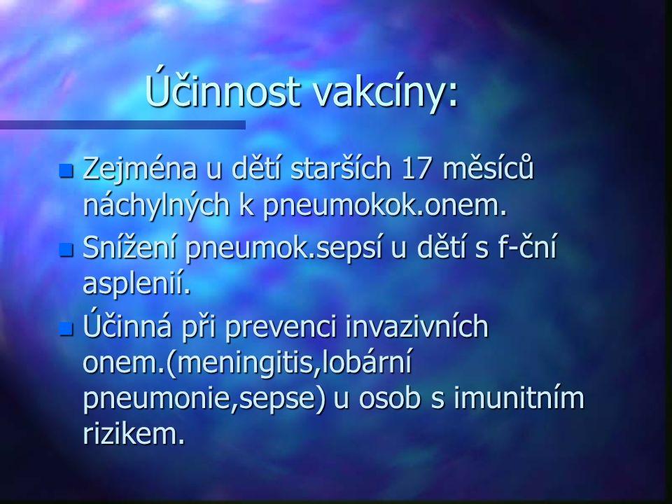 Účinnost vakcíny: n Zejména u dětí starších 17 měsíců náchylných k pneumokok.onem. n Snížení pneumok.sepsí u dětí s f-ční asplenií. n Účinná při preve