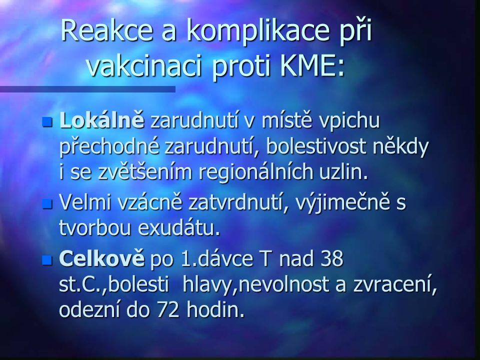 Reakce a komplikace při vakcinaci proti KME: n Lokálně zarudnutí v místě vpichu přechodné zarudnutí, bolestivost někdy i se zvětšením regionálních uzlin.