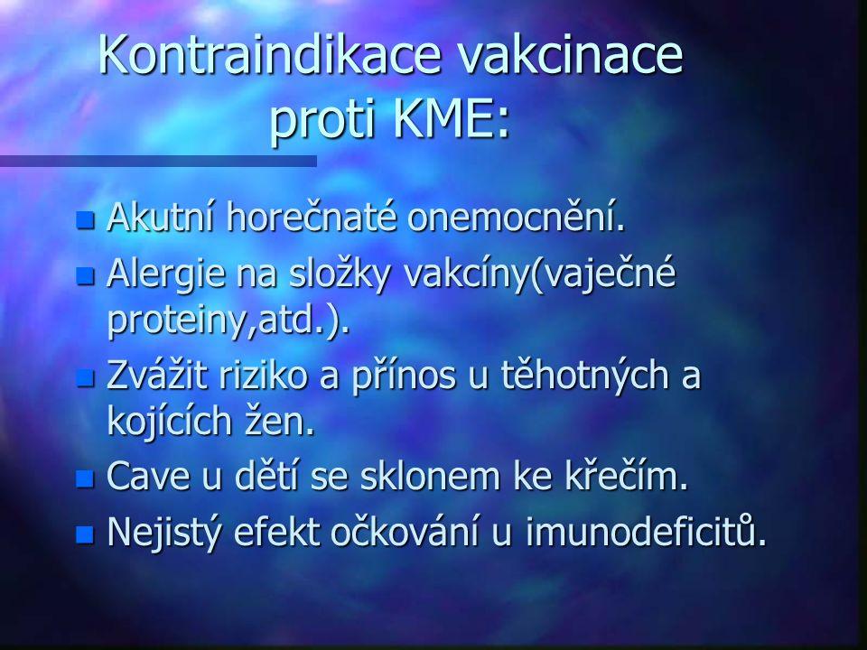 Kontraindikace vakcinace proti KME: n Akutní horečnaté onemocnění. n Alergie na složky vakcíny(vaječné proteiny,atd.). n Zvážit riziko a přínos u těho