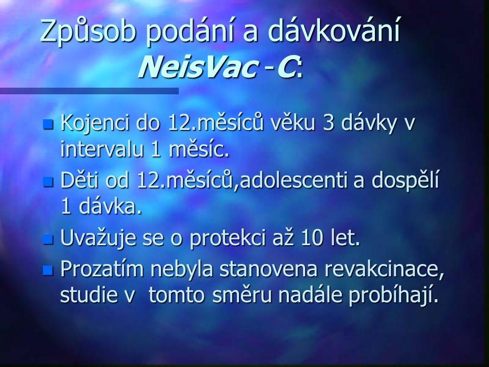 Způsob podání a dávkování NeisVac -C: n Kojenci do 12.měsíců věku 3 dávky v intervalu 1 měsíc. n Děti od 12.měsíců,adolescenti a dospělí 1 dávka. n Uv