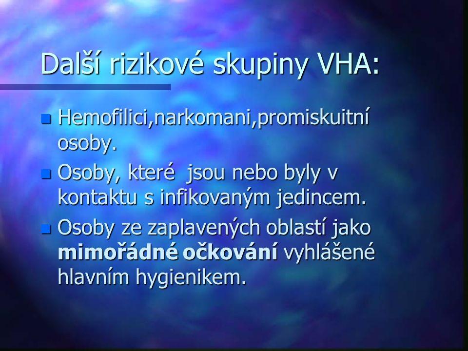 Další rizikové skupiny VHA: n Hemofilici,narkomani,promiskuitní osoby. n Osoby, které jsou nebo byly v kontaktu s infikovaným jedincem. n Osoby ze zap