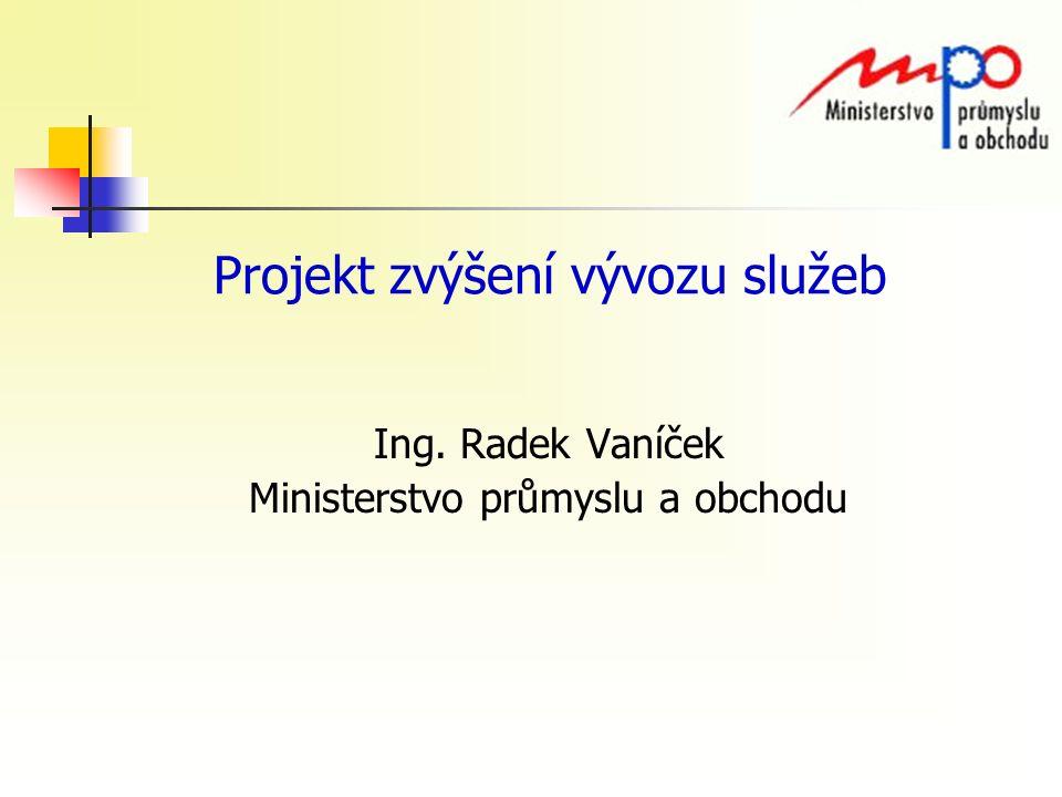 Projekt zvýšení vývozu služeb Ing. Radek Vaníček Ministerstvo průmyslu a obchodu