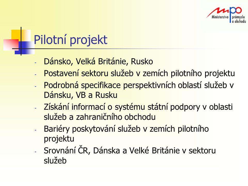 Pilotní projekt - Dánsko, Velká Británie, Rusko - Postavení sektoru služeb v zemích pilotního projektu - Podrobná specifikace perspektivních oblastí služeb v Dánsku, VB a Rusku - Získání informací o systému státní podpory v oblasti služeb a zahraničního obchodu - Bariéry poskytování služeb v zemích pilotního projektu - Srovnání ČR, Dánska a Velké Británie v sektoru služeb