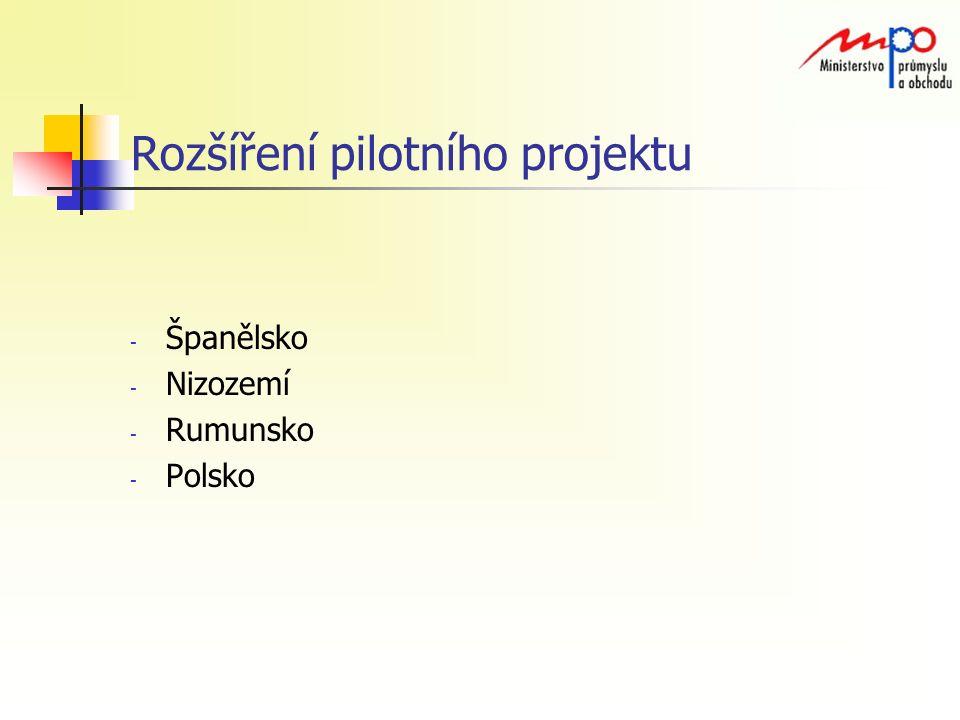 Rozšíření pilotního projektu - Španělsko - Nizozemí - Rumunsko - Polsko