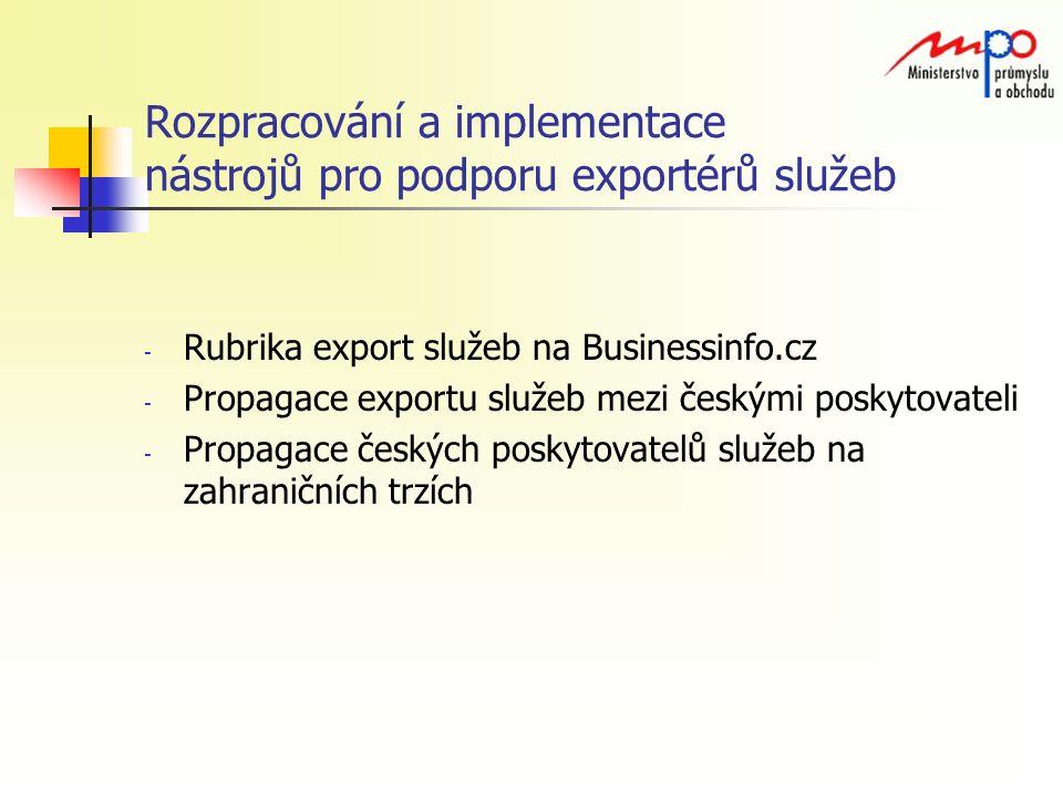 Rozpracování a implementace nástrojů pro podporu exportérů služeb - Rubrika export služeb na Businessinfo.cz - Propagace exportu služeb mezi českými poskytovateli - Propagace českých poskytovatelů služeb na zahraničních trzích