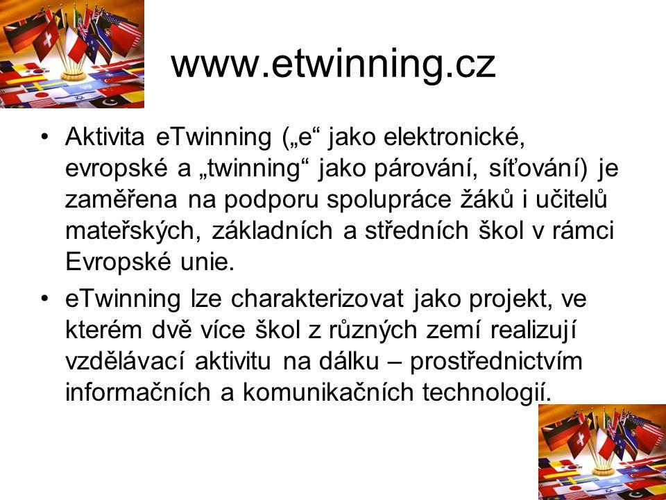"""www.etwinning.cz Aktivita eTwinning (""""e jako elektronické, evropské a """"twinning jako párování, síťování) je zaměřena na podporu spolupráce žáků i učitelů mateřských, základních a středních škol v rámci Evropské unie."""