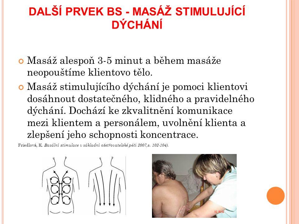 DALŠÍ PRVEK BS - MASÁŽ STIMULUJÍCÍ DÝCHÁNÍ Masáž alespoň 3-5 minut a během masáže neopouštíme klientovo tělo.