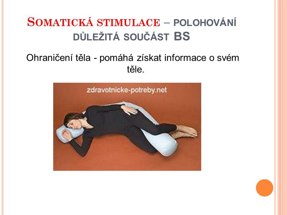 S OMATICKÁ STIMULACE – POLOHOVÁNÍ DŮLEŽITÁ SOUČÁST BS Ohraničení těla - pomáhá získat informace o svém těle.