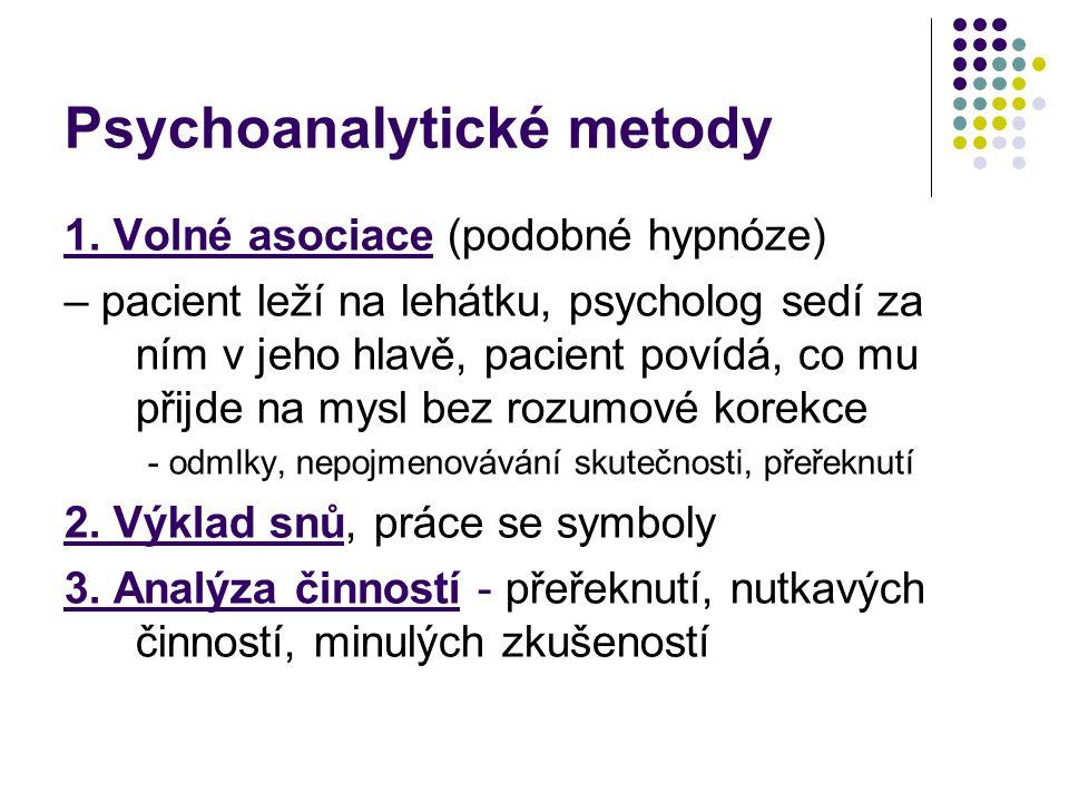 Psychoanalytické metody 1. Volné asociace (podobné hypnóze) – pacient leží na lehátku, psycholog sedí za ním v jeho hlavě, pacient povídá, co mu přijd