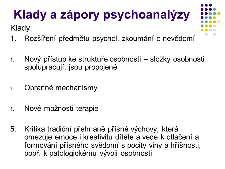 Klady a zápory psychoanalýzy Klady: 1.Rozšíření předmětu psychol. zkoumání o nevědomí 1. Nový přístup ke struktuře osobnosti – složky osobnosti spolup