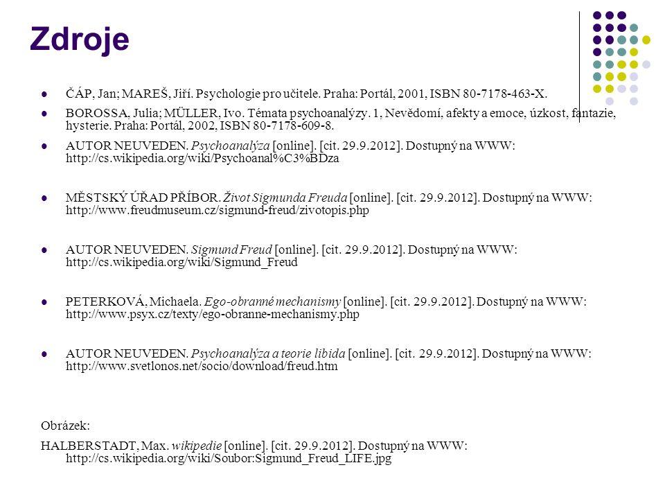 Zdroje ČÁP, Jan; MAREŠ, Jiří. Psychologie pro učitele. Praha: Portál, 2001, ISBN 80-7178-463-X. BOROSSA, Julia; MÜLLER, Ivo. Témata psychoanalýzy. 1,